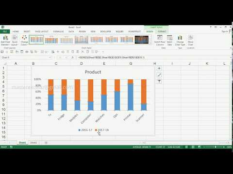 How to Create 2D 100% Stacked Column Chart in MS Excel 2013