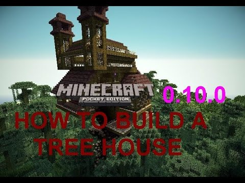 MINECRAFT PE HOW TO BUILD A  TREE HOUSE FAST AND EASY IN SURVIVAL