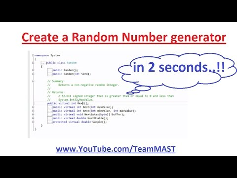 How to generate a  Random Number in C# | Team MAST
