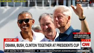 Obama, Clinton, and Bush appear together at Presidents Cup golf tournament CNN Hot News
