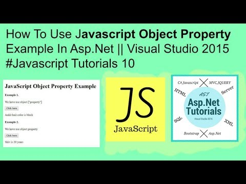 How to use javascript object property example in asp.net||visual studio2015 #javascript tutorials 10
