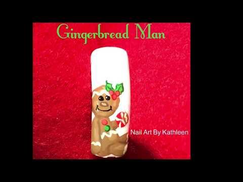 Christmas Gingerbread Man Nail Art