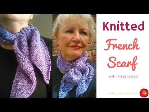 Knitted French Scarf with Knitcrate - Side Tie Spring Scarf with Uru Candy Yarn