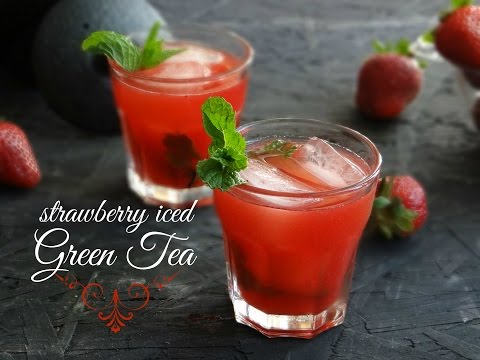 Strawberry Iced Green Tea - How To Make Fruit Flavored Iced Green Tea