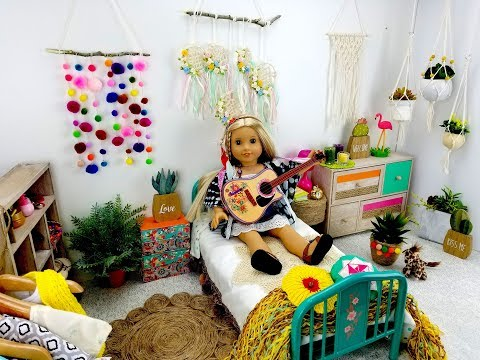 BOHO CHIC BEDROOM SET UP FOR AMERICAN GIRL DOLL