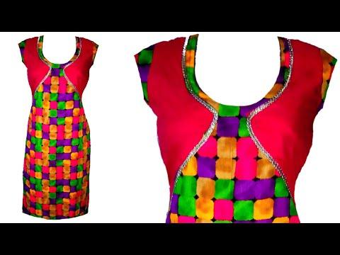 Jacket style kurti cuttting and stitching