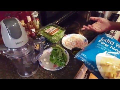 basil and arugula pesto pasta with shrimp