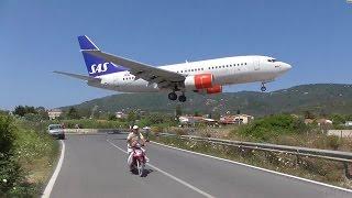 Low Landings. Danger from aircraft blast. Skiathos, Greece.