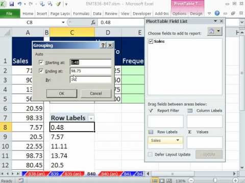 Excel Magic Trick 840: Frequency & Total for Upper and Lower Limit Category Formulas or PivotTable?
