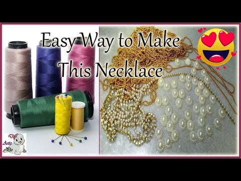#169 How to Make Pearl Beaded Silk thread necklace   simple and easy making   Jewellery Making   Diy