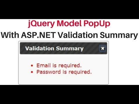 modal popup jquery tutorial asp.net show validation summary