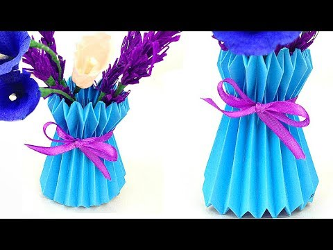 How To Make A Paper Flower Vase / DIY Easy And Simple Way Paper Craft design room decoration