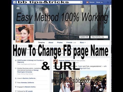 how to change facebook page name and url