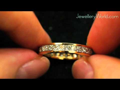 18ct Yellow Gold 2.7 Carat Princess Diamond Eternity Ring