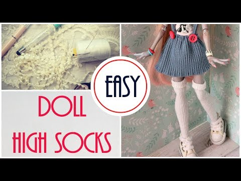 Monster High Knee Long Socks Easy How to Make Doll Craft Idea DIY Handmade Doll Clothes Tutorial