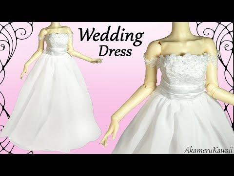 How to: Mini Wedding Dress - BJD / Barbie Doll Dress Tutorial