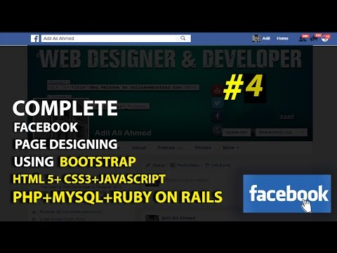 how to create facebook page using Bootstrap,Html 5 and css3 Header #4