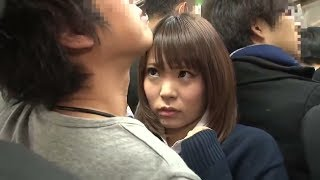 Japani beautifull girl in crowd Hidden Camera in Bus