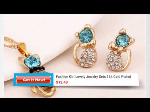 Fashion Girl Lovely Jewelry Sets 18k Gold Plated