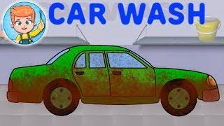 Spalatoria Auto. Desene Cu Masinuta Verde. Car Wash