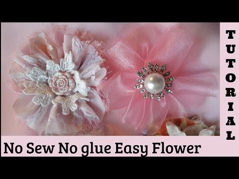 Fabric Flower Tutorial, no sew, hair pin, diy, shabby chic fabric flower, cotton, lace, chiffon