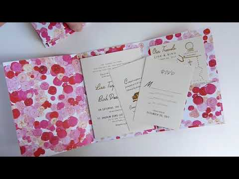 Lisa & Binh; custom wedding invitations, rose cover with pockets, rsvp, map and cocktails card