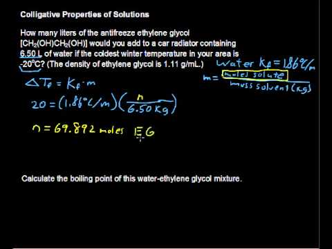 Colligative Properties of Solutions. Lowering Freezing Point, Increasing Boiling Point