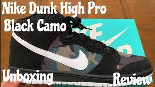 Nike SB Dunk High Pro aka Black Camo Dunks. Unboxing   Review w McFly 6cede1d55