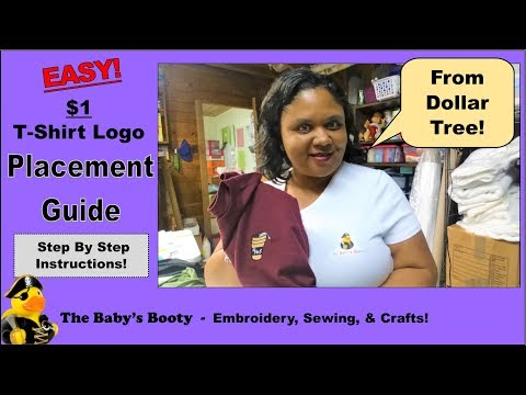 T-shirt logo placement guide for $1 DIY from the Dollar Tree!
