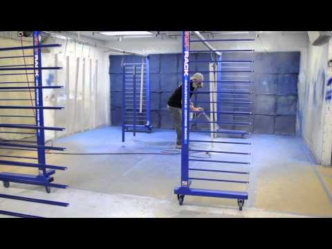 Spraying Parts With Fast Rack Equipment