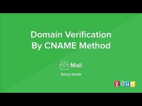 Zoho Mail - Domain Verification - CNAME Method