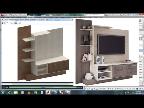 AutoCAD 3D modeling - LCD TV Showcase Tutorial - Apply Material Texture + Rendering