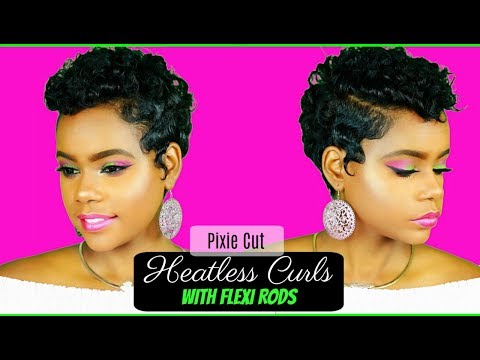 Heatless Curls on Relaxed Short Hair | Pixie Cut | Flexi Rods | Hair Tutorial | Leann DuBois