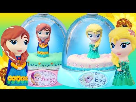 FROZEN FEVER ELSA ANNA GLITTER GLOBES Sunflower Dress Paint Your Own How To Disney Dolls Video