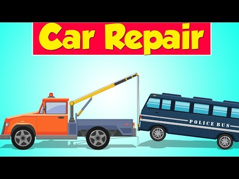 Tow Truck Garage | Police Bus | Police Vehicle | Kids Video