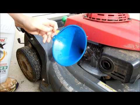 How to change oil for Honda lawn mower HRX217VKA.  Honda mower maintenance