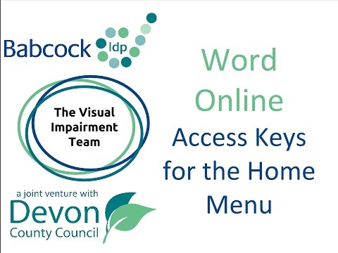Word Online: Access Keys for the Home Menu