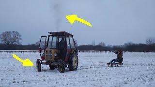Robimy kulig - czyli traktor sanki i sznurek