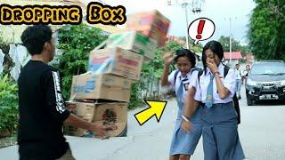 Christmas Special Prank ||Dropping Box Prank On Cute Girls || Box Falling Prank  ||Prank Shala