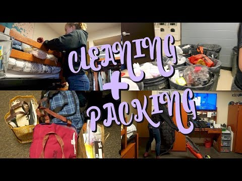 PACKING & DEEP CLEANING OUR DORM ROOM   VLOGMAS DAY 13