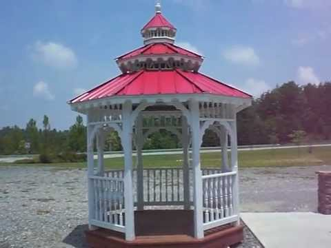 8x8 octagonal gazebo with cupola / red metal roof