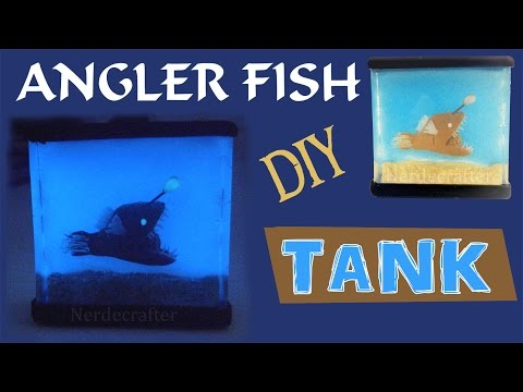 DIY MINIATURE FISH TANK Polymer Clay & Resin Tutorial Angler Fish How to make a fish tank  aquarium