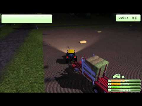 Farming Simulator 2013 - Making Square bails, loading them onto the trailer and selling them