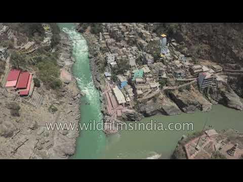 Devprayag confluence of Alaknanda and Bhagirathi, to form the Ganges, in Uttarakhand Himalaya