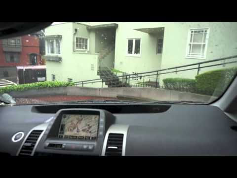 Steep drive down Lombard Street, San Francisco, California