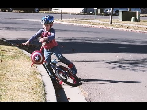 He Only Crashed A Couple Times - First Time Riding a Bike!