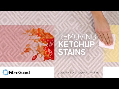 Removing ketchup stains from a jacquard fabric