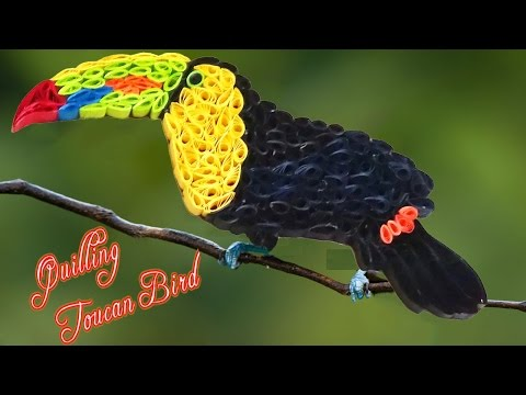 quilling artwork |  How to make a beautiful Toucan bird with quilling strips made easy