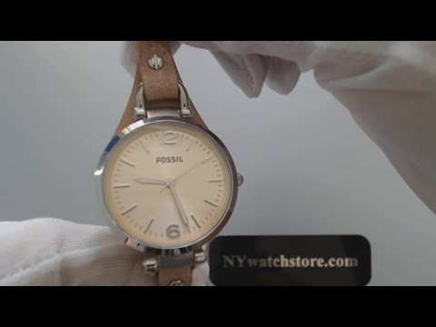 Women's Sand Fossil Georgia ES2830 Leather Strap Watch.