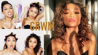 GRWM ♡ Heatless Tight Curls + My Go To Makeup Tutorial